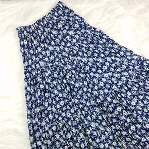 Vintage Blue White Rose Floral Button Front Skirt